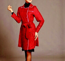 TRENCH COAT Lightweight BELTED Jacket RED PinK Satin Faux SilK Crinkle Fabric S