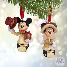 Disney Parks Mickey and Minnie Mouse Victorian Bell Ornament Set