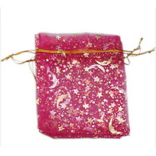 50pcs Fashion Rose Red Stars And The Moon Organza Pouch Bags Favours Charms D