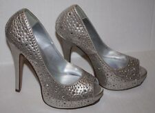 Delicious Lorica H Womens Silver Rhinestone Peep Toe Platform Pumps 8.5 M Shoes