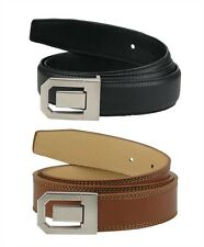 "2 Designer Split Leather Belts Cut To Size - Up to 58"" Waist - 1 Black - 1 Brown"