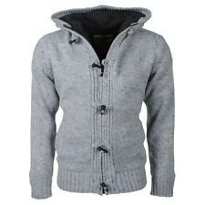 MensDissident - Knitted Cardigan with Hood - Teddy Lining, Light Grey, Size: Sml