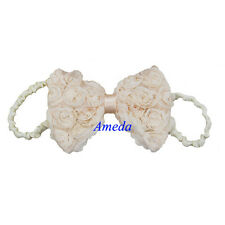 Baby Girls Champagne Rosettes Rose Bow Hair Ivory Headband Flower Party Wedding