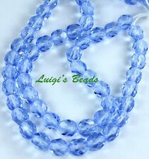 25 Light Sapphire Czech Firepolished Faceted Round Glass Beads 6mm