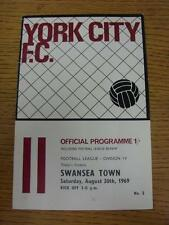 30/08/1969 York City v Swansea Town  (Faint Crease). This item is in very good c