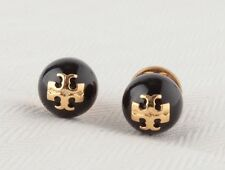 AUTHENTIC TORY BURCH BLACK CRYSTAL PEARL LOGO STUD EARRINGS-RV $75-NEW!