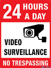 24 HOURS A DAY - VIDEO SURVEILLANCE - NO TRESPASSING -- 300 X 225MM - METAL SIGN