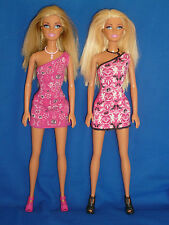 2 Blonde Straight Leg Barbie Dolls with One Shoulder Dresses, Shoes & Necklaces