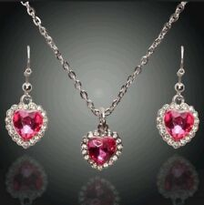 NEW 18K GOLD PLATED AUSTRIAN CRYSTAL ROSE PINK HEART EARRINGS NECKLACE SET