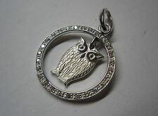 Anhänger Eule im Ring Silber 925 rhodiniert mit Zirkonia