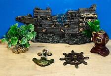 Acuario Adornos Galeón 5 Piezas Aire grifo peces tanque decoración Nueva