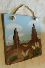VTG 1989 HANGING WALL DECOR CERAMIC TILE SAND PAINTING LANDSCAPE SIGNED & DATED
