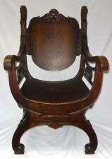 Fabulous R.J. Horner Quartersawn Oak Carved Throne Chair w/Lions Heads WOW!