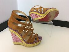 christian louboutin Tosca Wedge Shoes Size 37 Uk 4 Tan Suede Leather Vgc