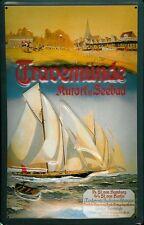 Blechschild Travemünde Segelboot Regatta Segelyacht Schiff Schild Nostalgie Deko
