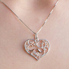 925 Silver Heart Necklace Rose Gold plated Love Bird Heart Silver pendant 18''