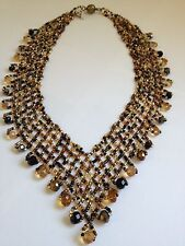 "Artist Czech Glass Bead COPPER GOLD BLACK Cascade Bib Statement  ""V"" NECKLACE"