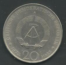 GERMANY, EAST, 1972-A,  20 MARK, COPPER NICKEL,  KM#42,  ALMOST UNCIRCULATED