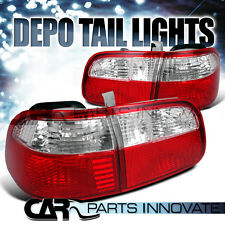 Fit Honda 99-00 Civic 4Dr Sedan Red Clear Tail Lights Rear Lamp DEPO