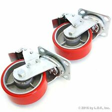 "2 Red Brake Wheel Caster 5"" Wheel All Swivel Heavy Duty Iron Hub No Mark Casters"