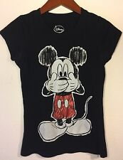 Disney Womens Mickey Mouse Top Short Sleeve Black T Shirt ~ Size Small