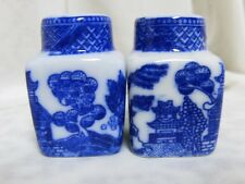 WHITE BLUE WILLOW INDIVIDUAL MINIATURE SALT & PEPPER SET ASIAN ORIENTAL CHINESE