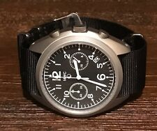 MWC Military Pilots Chronograph w/ Extra Two Piece Black Leather Strap