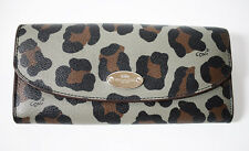Coach Ocelot Leopard Animal Print Purse Wallet Black Brown Grey - Rare