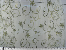 Drapery Upholstery Fabric Floral Scroll Embroidered Voile / Sheer - Sage