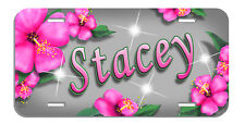 Pink Hibiscus Flowers License Plate Personalize Gifts Ladies Any Name Or Text