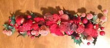 Chirstmas Holiday Decor Faux Floral Red Berry Fruit Strand Sugared Ivy Leaves