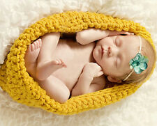 Newborn Baby Unisex Crochet Knit Yellow Sleeping Bag Clothes Photo Prop Costume