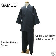 Japanese Traditional Clothing Men SAMUE Navy Blue Sashiko Kimono Japan L