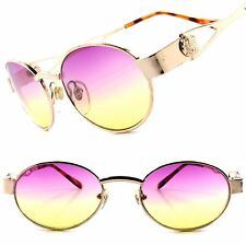 True Vintage Deadstock Purple & Yellow Two Tone Lens Gold Womens Oval Sunglasses