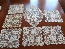 VINTAGE LOT NEEDLEWORK LACE DOILIES TABLE CENTRE CLOTH