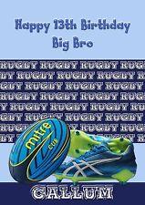 Tarjeta De Cumpleaños Personalizada Rugby Bola Grande A5 tamaño hijo papá Nieto marido C