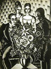 Lynd Ward 1930 FAMILY at FUNERAL PARLOR DEATH of MOTHER Art Deco Print Matted