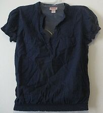 Womens Mossimo S Navy Blue Peasant Top Short Sleeve Cotton Banded Bottom GUC