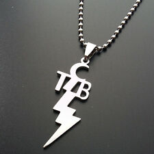 "Elvis Presley TCB  Stainless Steel Pendant Necklace 23.7"" Silver Chain Jewelry"