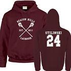 Beacon Hills Lacrosse HOODIE Burgundy Stiles Stilinski Wolf 24 Teen Unisex S-2XL