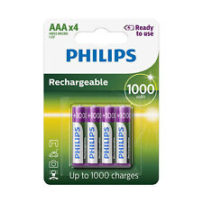 4 x Philips AAA 1000 mAh Pre Charged NiMH Rechargeable Batteries HR03 Dect Phone