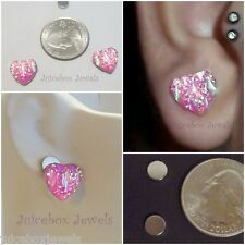 MAGNETIC Pink HEART Stud Rhinestone 12 mm Fake Non Pierced Sparkle Earrings #89