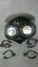 Universal Motorcycle Headlamp for Streetfighter etc. Twin 55w Halogen & sidelamp