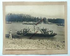 3 GRANDE PHOTO ARMEE DU GENIE COLONIALE MILITAIRES CONSTRUCTION PONT FLOTTANT