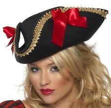 Ladies Pirate Fancy Dress Hat Fabric Pirate Black/Red #24206 1st Class Postage