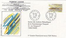 Enveloppe 1er Jour TRAIN PARIS 01/10/1984 1ère liaison PARIS LYON des. Forget