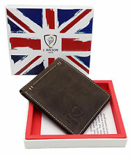 RFID SAFE Blocking Mens Designer Real Leather Wallet Compact Contactless Card