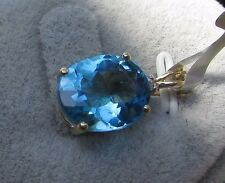 6.21 cts Genuine Swiss Blue Topaz Pendant in 10k Yellow Gold w/Accent