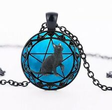 Black Cat Wiccan Pagan Round Photo Glass Pendant Necklace Halloween *UK*