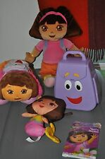5a- TOY DOLL DORA LOT INCLUDES BACK PACK, DOLLS, PILLOW, AND INVITATIONS SO NICE